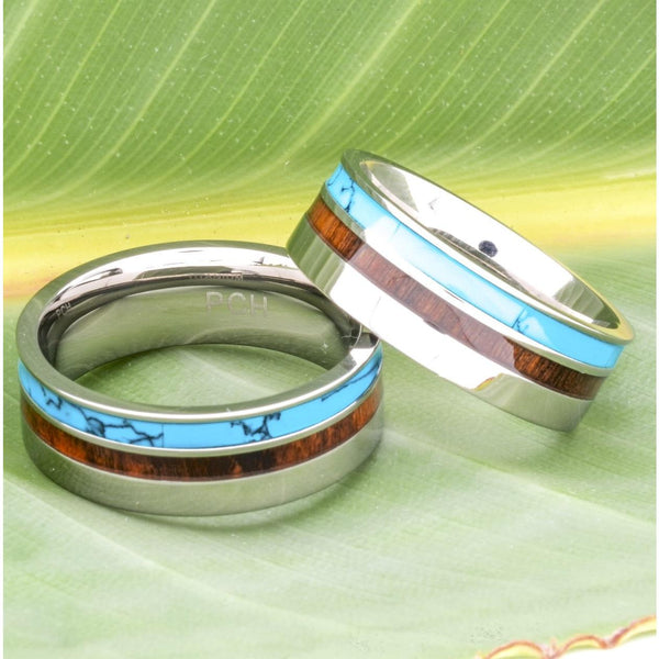 Men's Titanium Ring With Koa Wood and Turquoise Inlay, 8mm Comfort Fit Wedding Band - PCH Rings