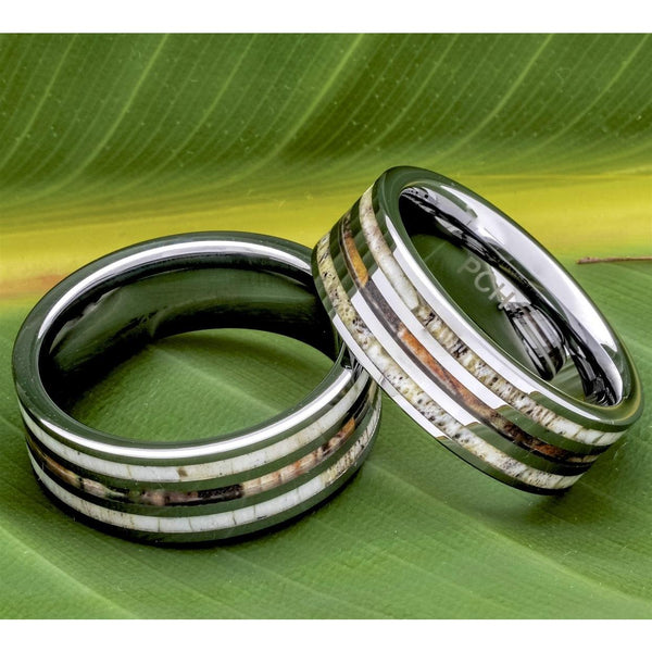 Deer Antler Ring With Camo Inlay, Tungsten Carbide, 8mm Comfort Fit Wedding Band - PCH Rings