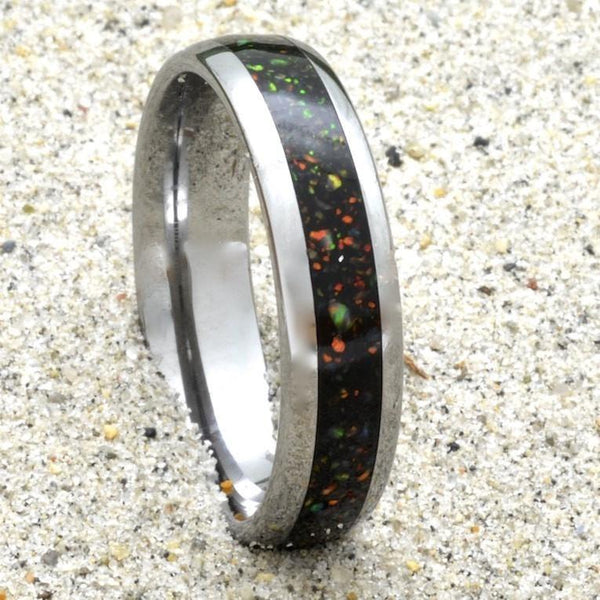 Tungsten Ring With Australian Opal Inlay, 6mm Comfort Fit Wedding Band - PCH Rings
