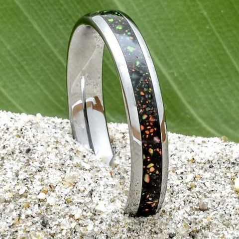 Opal Tungsten Wedding Band 4mm Wide for Women or Men