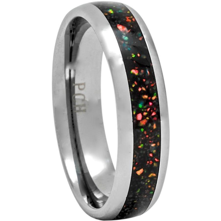 Opal Tungsten Ring Wedding Band Gift 6mm Wide Women or Men - PCH Rings