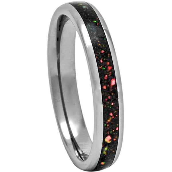 Tungsten Ring With Australian Opal Inlay, 4mm Comfort Fit Wedding Band - PCH Rings