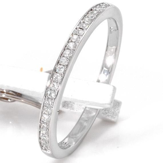 Sterling Silver Wedding Band With Cubic Zirconia, 925 Wedding Ring, Stacking Band - PCH Rings