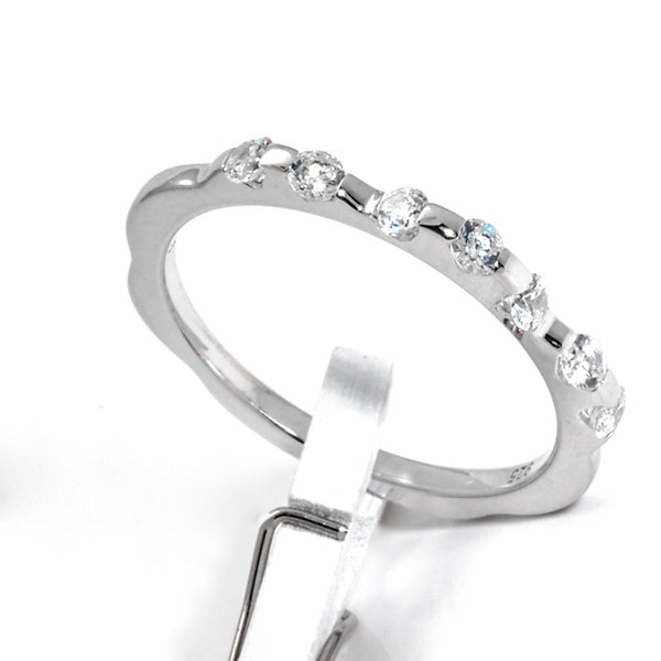 Sterling Silver Stackable Band With Cubic Zirconia, 925 Wedding Band - PCH Rings