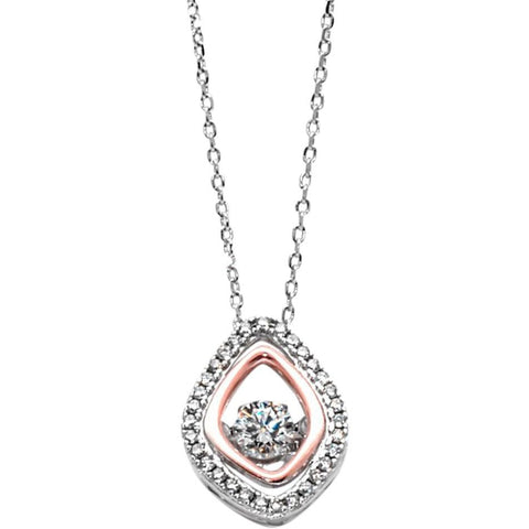 Sterling Silver Necklace With Cubic Zirconia and Rose Gold Accent - PCH Rings