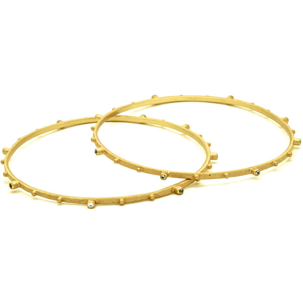 Bangle Bracelet 18K Gold Plate With Cubic Zirconia  2.5 Inch - PCH Rings