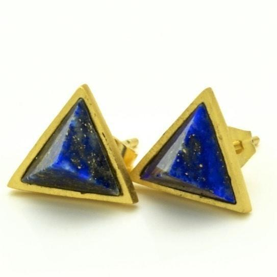 Triangle Lapis Stud Earrings, 14k gold overlay fashion Jewelry - PCH Rings
