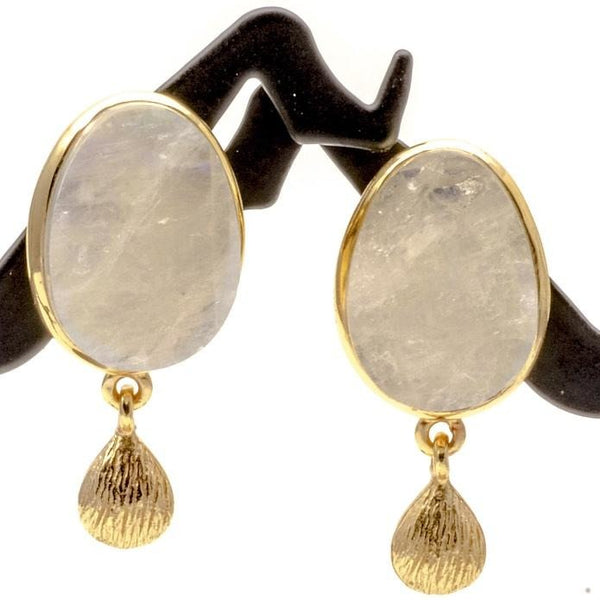 Earrings Rainbow Moonstone Crystal 1 Inch Posts 14K Gold Overlay - PCH Rings