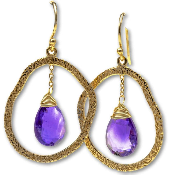 Genuine Amethyst Drop Earrings, Sterling Silver With 18K Gold Overlay - PCH Rings