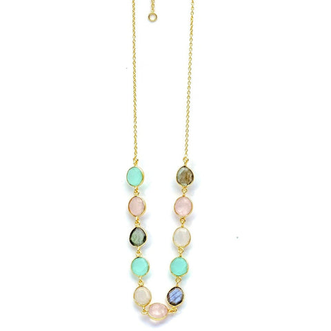 Sterling Silver Gemstone Necklace With Labradorite, Moonstone, Calcite and Rose Quartz - PCH Rings