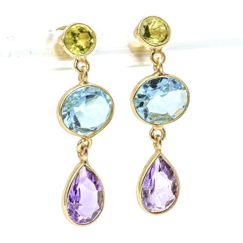 Sterling Silver Gemstone Earrings With Amethyst, Blue Topaz And Peridot, Drop Design - PCH Rings
