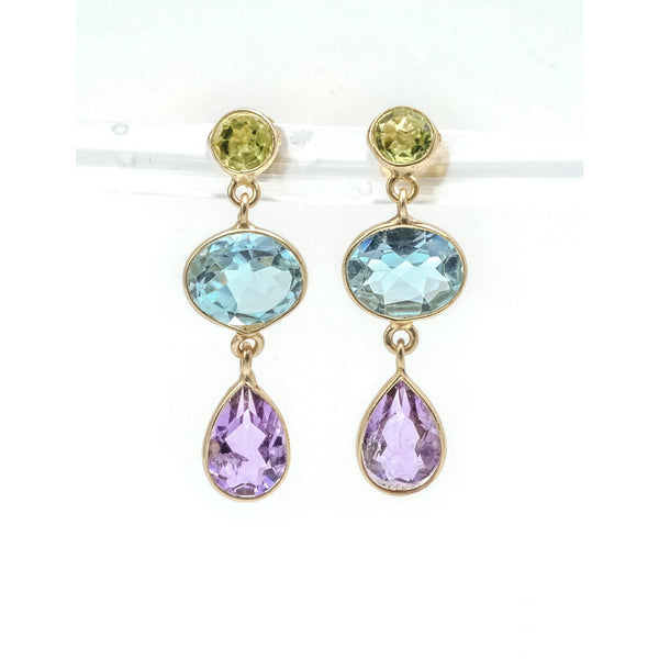 Earrings Blue Topaz Amethyst Peridot in Sterling Silver Dangle Vermeil - PCH Rings
