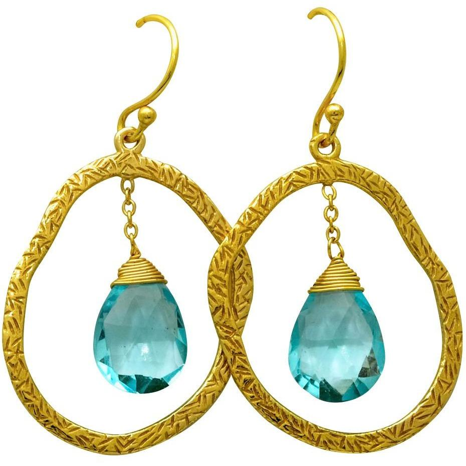 Sterling Silver Blue Topaz Earrings, 18k Gold Overlay, Drop Dangle Design - PCH Rings