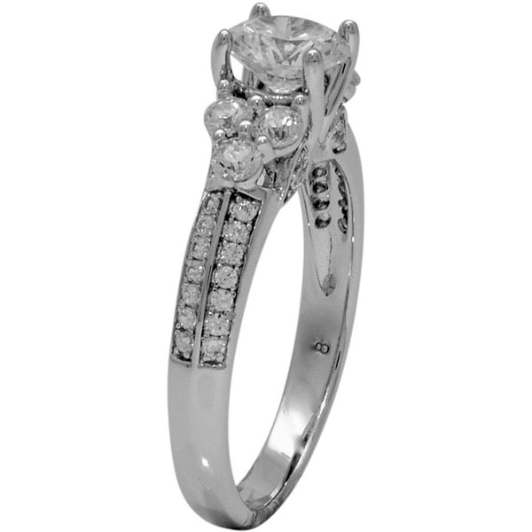 Vintage Style Sterling Silver Wedding Ring with Cubic Zirconia, 925 Engagement Ring - PCH Rings