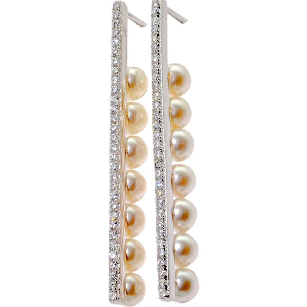 Sterling Silver Pearl Earrings, 925 Drop Earrings With Post - PCH Rings