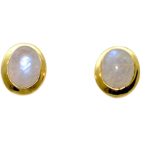 Sterling Silver Moonstone Stud Earrings With 14k Gold Overlay - PCH Rings