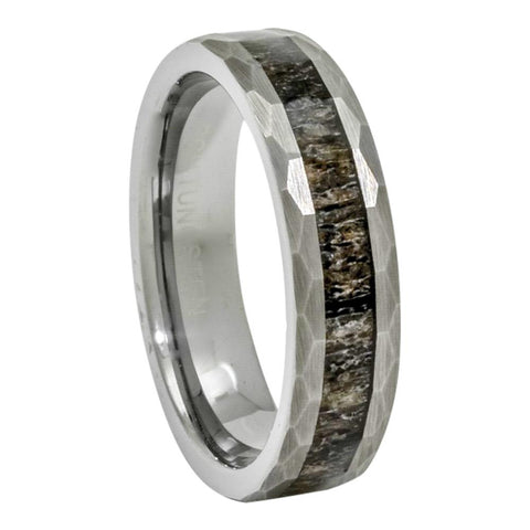 Tungsten Deer Antler Ring, Hammered Finish, 6mm Comfort Fit Wedding Band - PCH Rings
