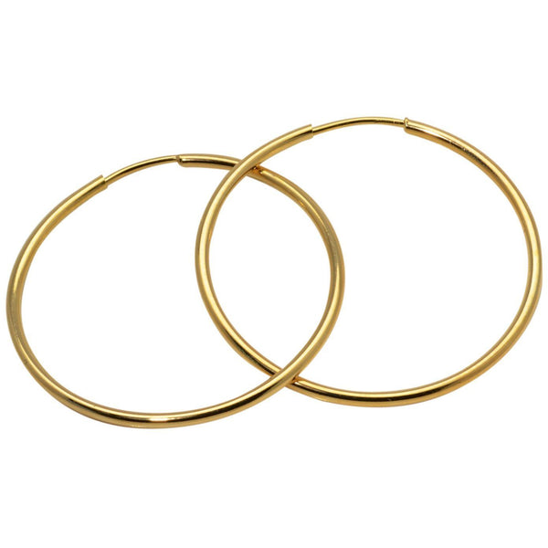 Gold Hoop Earrings 18K Yellow Gold Fill 60mm Continuous Wire 2.50 Inch - PCH Rings