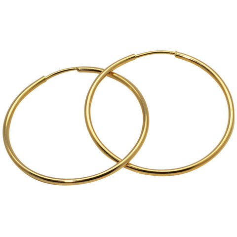 Gold Hoop Earrings 18K Yellow Gold Fill 50mm Endless Hoop Wires - PCH Rings