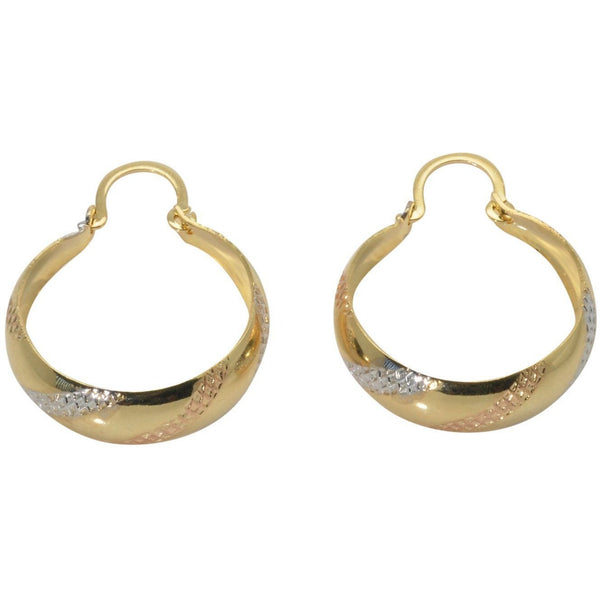 18K Gold Filled Hoop Earrings 15mm Tri Color - PCH Rings