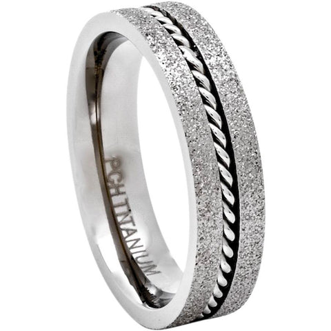 Classic Titanium Rings With Steel Cable Inlay, 6mm Comfort Fit Wedding Band - PCH Rings