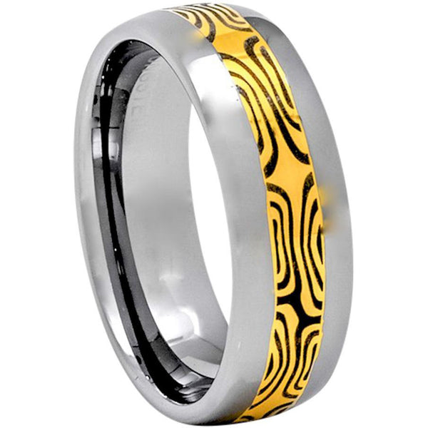 Mokume Pattern Tungsten Ring, 8mm Comfort Fit Wedding Band - PCH Rings