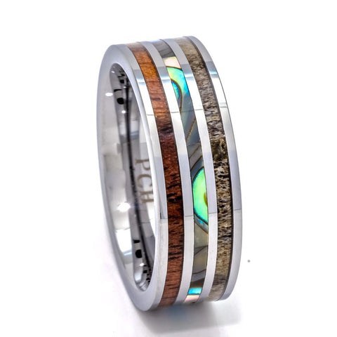 Men's Tungsten Abalone Shell Ring With Koa Wood Inlay, 8mm Comfort Fit Wedding Band - PCH Rings