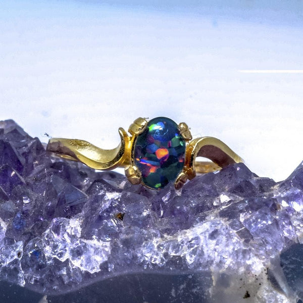 14k Yellow Gold Idaho Opal Ring, Classic Fine Jewelry - PCH Rings