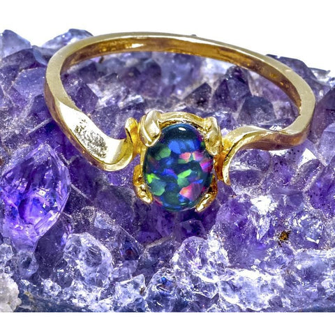 Opal Ring 14K Yellow Gold Idaho Gemstone 7 by 5 Oval Size 7 - PCH Rings