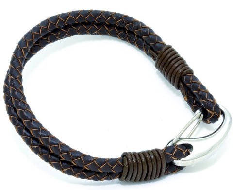 "Men's Brown Leather Bracelet With Stainless Steel Clasp, 8"" Long - PCH Rings"