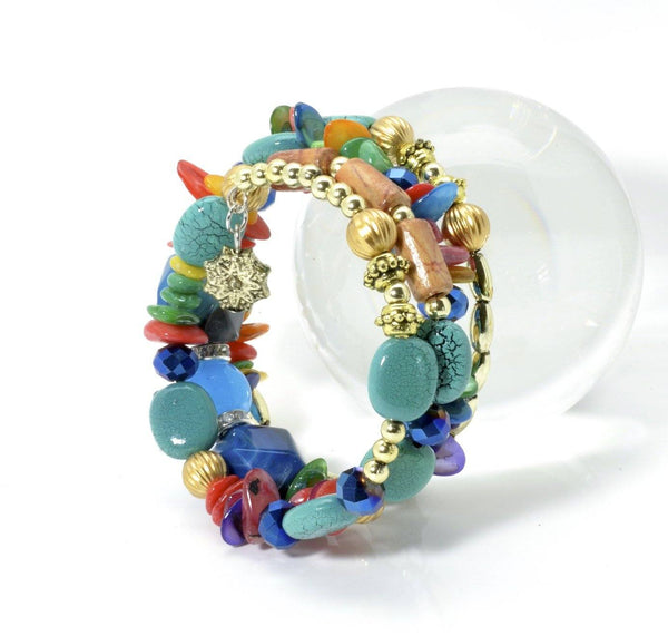 Bohemian Turquoise Wrap Bracelet With Natural Gemstones - PCH Rings
