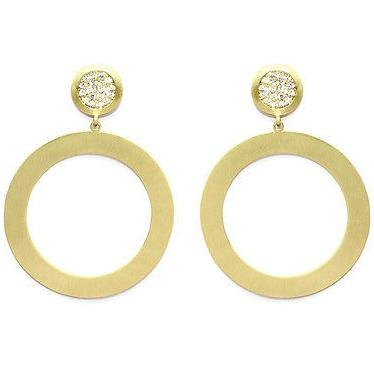 Drop Earrings With Brushed Circle Design  14K Gold Overlay, 2.5 Inch Long - PCH Rings