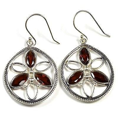 Vintage Style Sterling Silver Earrings With Garnet, 925 Handmade Jewelry - PCH Rings