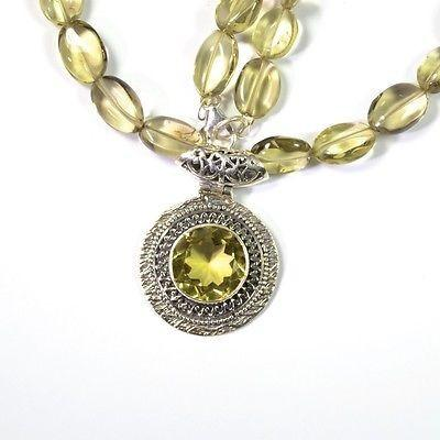 Sterling Silver Citrine Necklace With Beaded Chain, 925 Handmade Fine Jewelry - PCH Rings