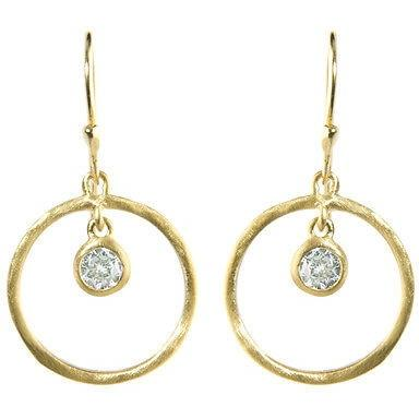 "Cubic Zirconia Earrings Dangle 14K Yellow Gold Overlay 1"" - PCH Rings"