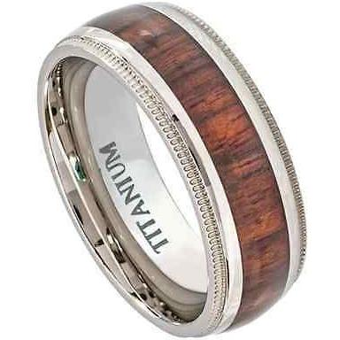 Hawaiian Koa Wood Titanium Rings Mill Grain Edge 8mm Wedding Band - PCH Rings