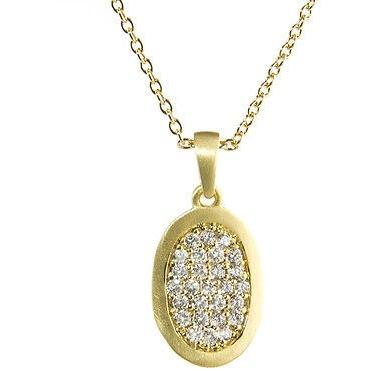 Modern Cubic Zirconia Gold Necklace, Pave Design, 14k Gold Overlay - PCH Rings