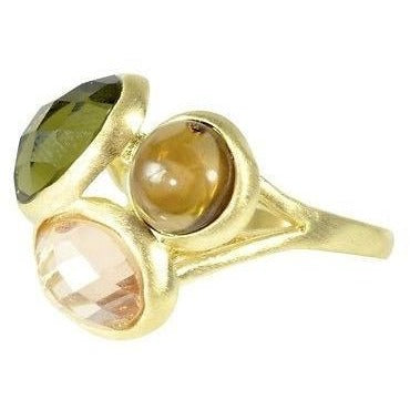 Modern Gold Fashion Ring 3 Faceted Quartz Gemstones With 18K Gold Overlay - PCH Rings
