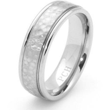 Titanium Hammered Ring Wedding Band Engagement 7 MM Wide - PCH Rings