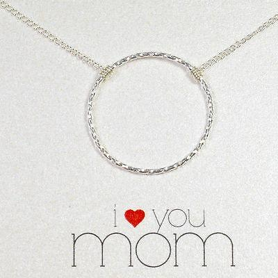 "Dogeared Sterling Silver Circle Of Love Necklace, 18"" 925 Silver Chain - PCH Rings"