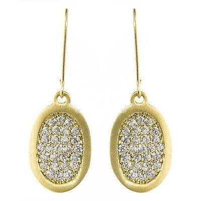 "Pave Cubic Zirconia Earrings Dangle 14K Yellow Gold Overlay 1"" - PCH Rings"