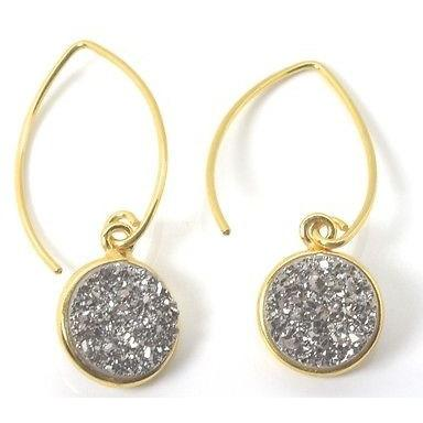 "Sterling Silver White Druzy Earrings, 925 Drop/Dangle Earrings, 1.5"" Long - PCH Rings"