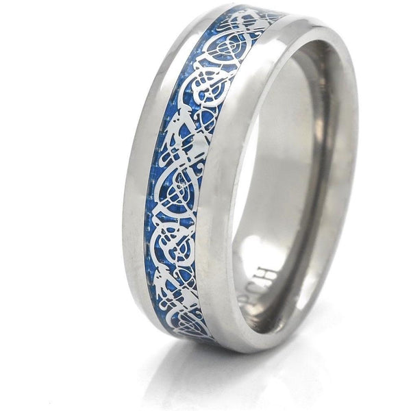 Titanium Celtic Rings Blue Dragon Pattern 8mm Band - PCH Rings