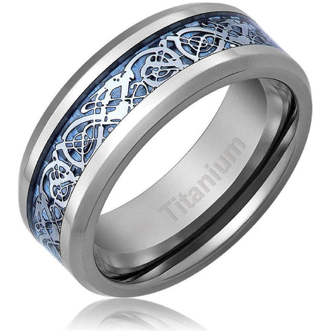 Titanium Blue Dragon Celtic Ring, Irish Wedding Band, 8mm Comfort Fit Wedding Band - PCH Rings