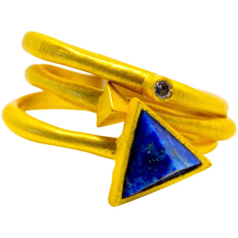Lapis Rings (3) Stacking  Natural Gemstone Triangle Shape 14K Overlay - PCH Rings