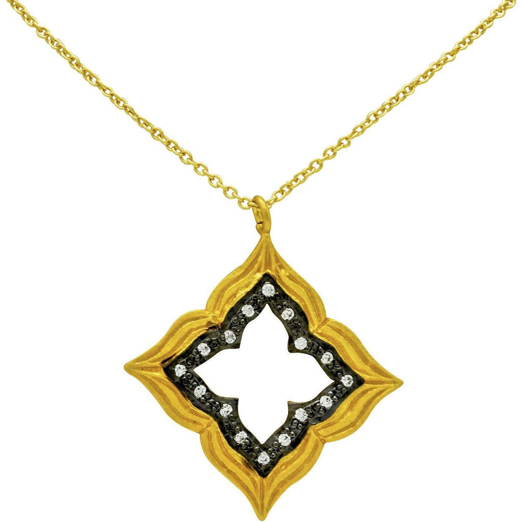 "Sterling Silver Pendant Gold Vermeil 925 with 16"" Chain Cubic Zirconia - PCH Rings"