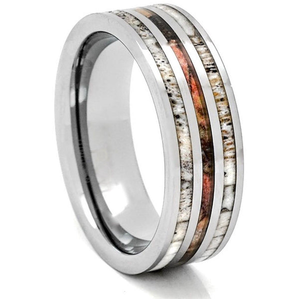 Deer Antler Tungsten Ring Camo Wood 8mm Wedding Band or Gift - PCH Rings