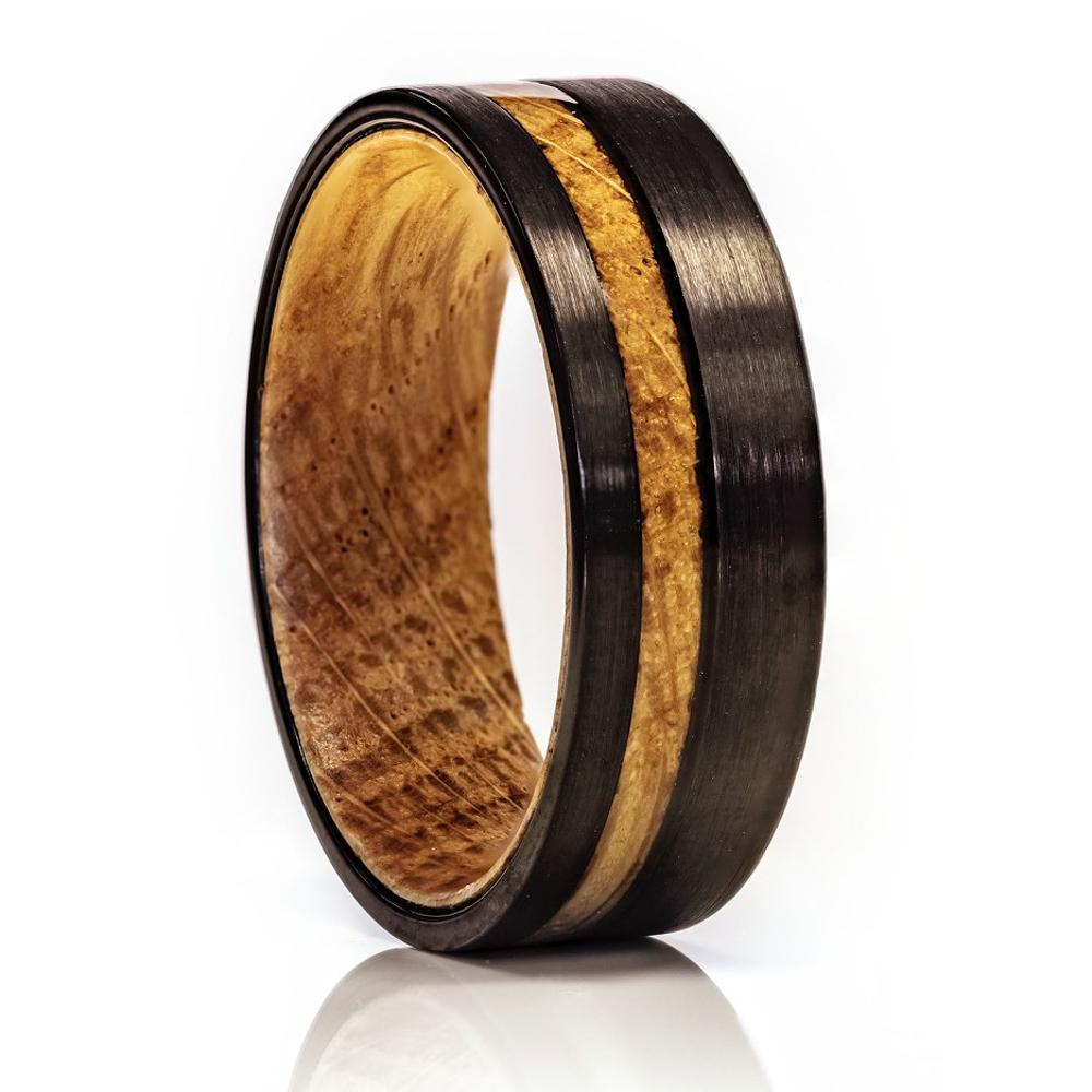Whiskey Barrel Ring, Tungsten Wood Ring, 8mm Comfort Fit Wedding Band - PCH Rings