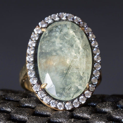 Sterling Silver Quartz Ring Vermeil Designer Style Unique 6 - PCH Rings