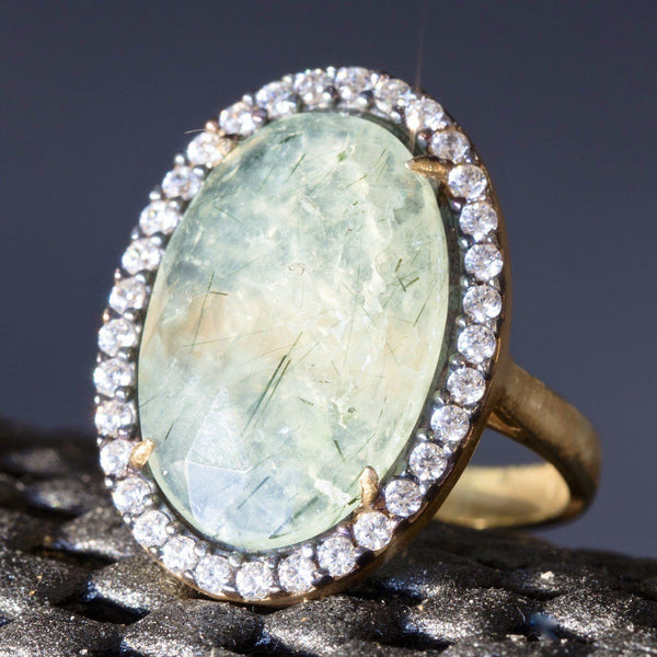 Sterling Silver Ring With Rutilated Quartz Gemstone, Cubic Zirconia Halo ring - PCH Rings
